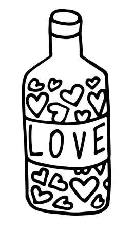 Vector doodle hand drawn triangle flask or bottle with magic potion. outline.. icon. label with the word Love. Lettering. isolated on white background