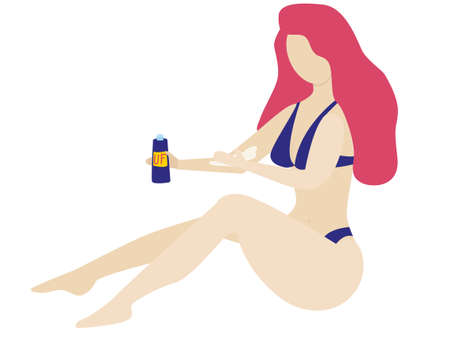 a young girl in a swimsuit sits on the sand and holds a sunscreen in her hand. UV rays. She puts the cream on her hand. Protection against skin cancer. UV-radiation. caring for the skin. Vector illustration isolated on white background