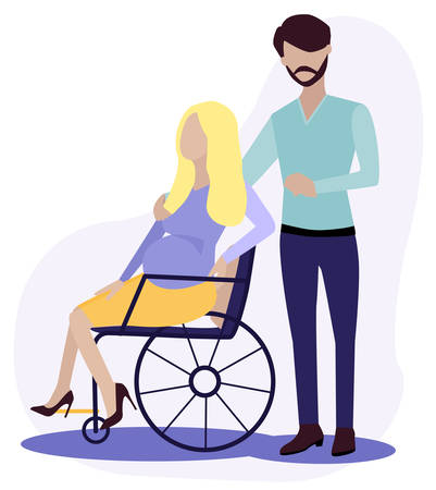 pregnant women is in wheelchair. She has trendy clothes and shoes. Full happy life. woman s health or inclusion, equal rights concept. Motherhood, Maternity. Flat Vector Illustration