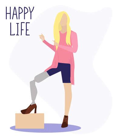 Junges Mädchen mit einer bionischen Beinprothese steht in modischer Kleidung und mit einer schönen Frisur. Er weist auf ein glückliches Leben hin. Inklusion, Kommunikation, volles Leben. Flache Vektorgrafik