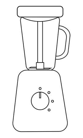 Flat icon of steamer blender for feeding a baby. Simple black stroke. Vector Illustration isolated on white background.