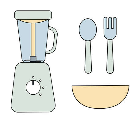 Flat icon of colored steamer blender for feeding a baby. Blue and grey spoon and fork with deep dish. Simple black stroke and soft colors. Vector Illustration isolated on white background.