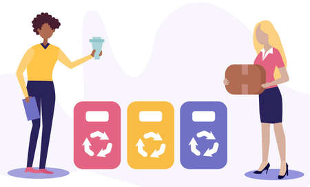 the office staff separates the garbage. corporate social responsibility concept. reasonable consumption. Black male and Female bring glass and cardboard to colored cans. business saves the nature. Flat illustration