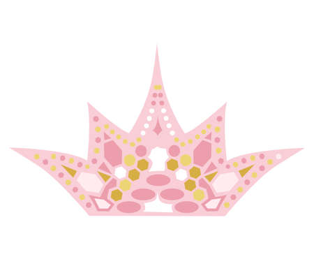 colored crown for princess. Beautiful vector illustation for girl and dolls. Pink and gold colors. Childrens education concept. 向量圖像
