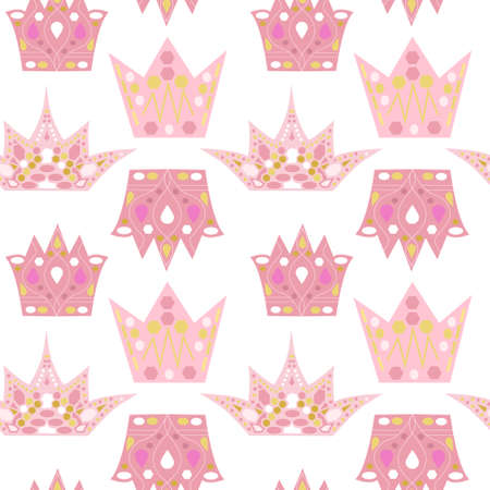seamless pattern with colored crowns for princess. Beautiful vector illustation for wrapping paper for girl and dolls. Pink and gold colors. Childrens education concept. 向量圖像