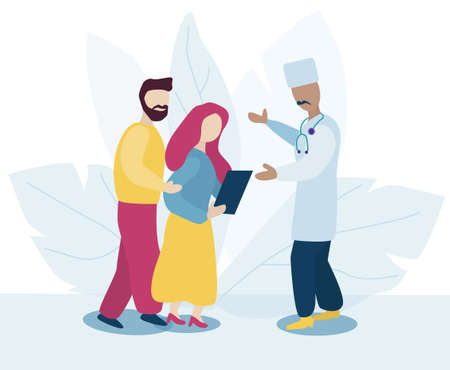 two patients couple are talking to the doctor about the results of treatment. A woman holds a paper with a diagnosis. Excitement. The doctor explains. Trendy flat vector style. Concept evidence-based medicine Ilustração