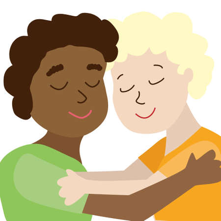 Black african and  white european american child are hugging. concept of interethnic friendship against racial prejudice, racism. Friends, childhood. Vector illustration isolated on white background