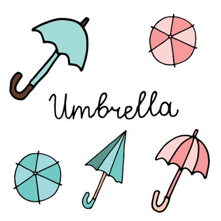 Set of doodle coloring umbrella icon isolated on white, outline kids hand drawing art line, logo, sticker, sketch vector stock illustration