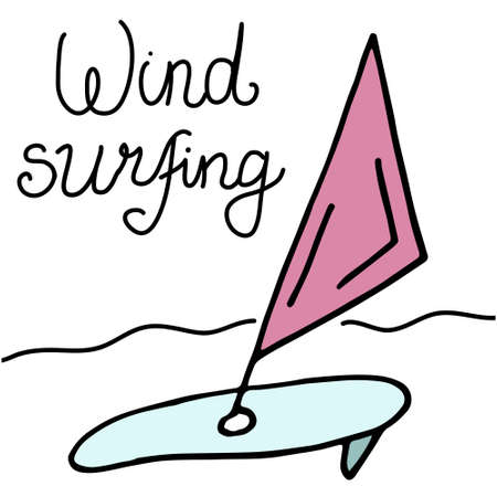 Hand drawn colored doodle. Lettering Wind Surfing and serf. Sea and beach vacation. Sport. Vector illustration isolated on white background