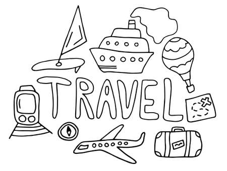 Travel doodle. black hand drawn thin line postcard about travelling with lettering and Ship, train, map. isolated on white background. Doodle summer card. Colored Vector illustration