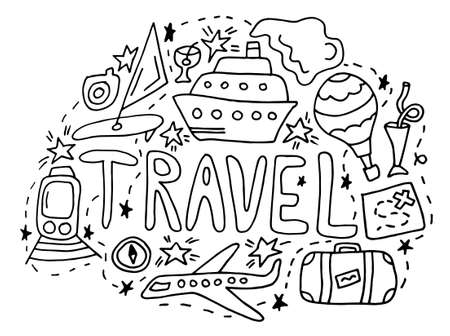 Travel doodle. black hand drawn thin line postcard about travelling with lettering and Ship, train, map, stars and directions. isolated on white background. Doodle summer card. Colored Vector illustration Ilustração