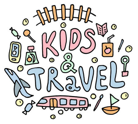 Colored Kid and Travel doodle. black hand drawn thin line postcard about travelling with lettering. Ship, train, candy, kid food. isolated on white background. Concept children travelling. Colored Vector illustration