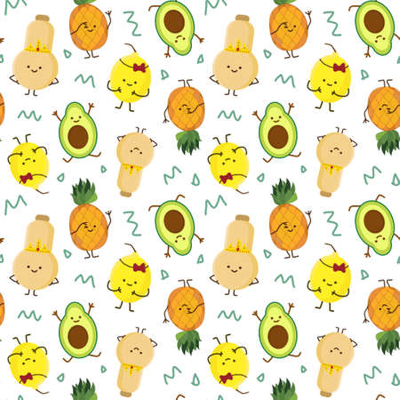 kawaii fruits seamless pattern set with face expression on dark purple color background vector illustration. Concept of joy and happiness.
