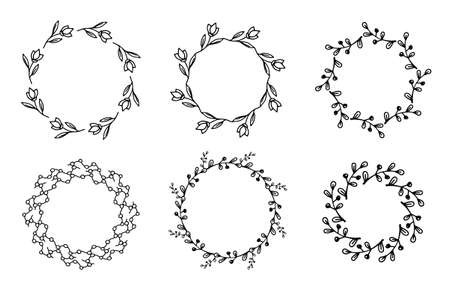 Set of six frames with black hand drawn wreath. Hand drawn simple line. Black stroke. Isolated on white background. Elegant and noble. Best for wedding design. Invitation. Copy space