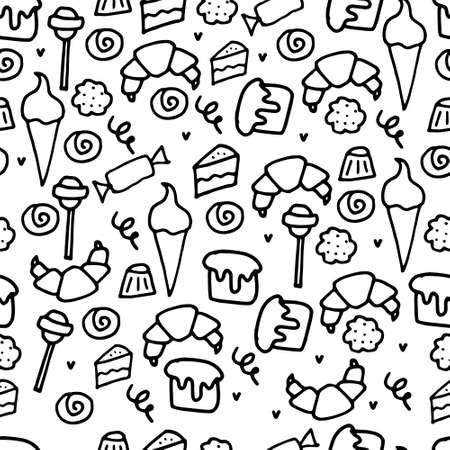 Hand drawn sweets and candies pattern. Vector doodles. Isolated food on white background. Seamless texture. Ice cream, cake, donut, etc.