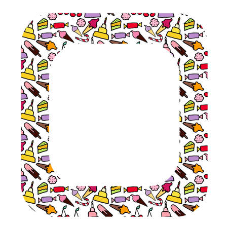 Vector oval frame with doodle candies. Sweet are hand drawn with black stroke. Cherry, cakes, bakery. Isolated on white background. Copy space.