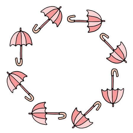 vector illustration colored doodle Umbrella. Oval round frame with hand drawn umbrellas. wooden curved handle. Umbrella cane. Copy space. Isolated on white