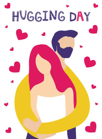 adorable young couple is hugging. man embracing woman. romantic couple relationship in flat vector illustration. Love concept. Lettering Hugging day. Flat style. Isolated on white background. 일러스트