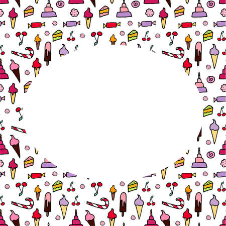 Vector frame with doodle candies. Oval inside. Sweet are hand drawn with black stroke. Cherry, cakes, bakery. Isolated on white background. Copy space.