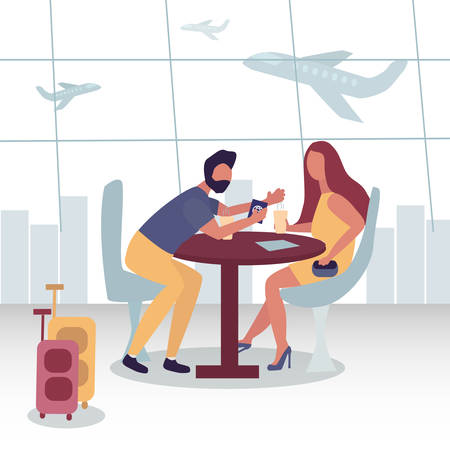 Couple is sitting in a cafe at the airport. She drinks coffee, he talks enthusiastically. Planes take off behind them. Waiting for the flight. There are two suitcases nearby. Passport in his hand. Vector illustration flat style