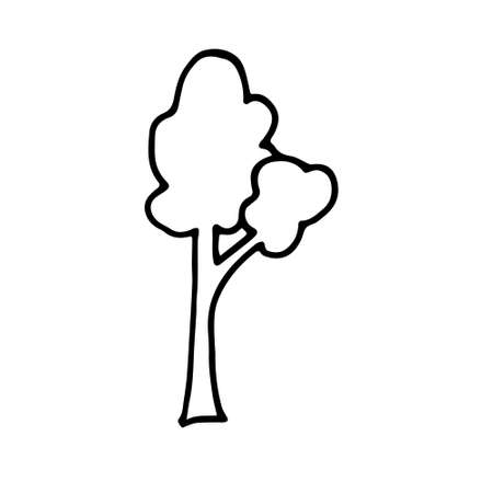 Hand drawn doodle tree. Simple thick black line. birch, aspen. Best for design of nature and children s coloring book. environment concept. Vector illustration isolated on white background.