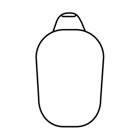 White cosmetic bottle. Black stroke, simple line. Vector illustration isolated on white background for your design. Bottle with liquid soap and dispenser. Jar for lotion, balm or cream.