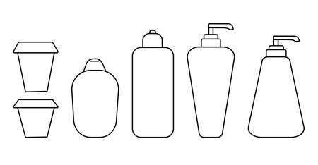 Set of cosmetic bottles. Black stroke, simple line. Vector illustration isolated on white background for your design. Bottle with liquid soap and dispenser. Jar for lotion, balm or cream.
