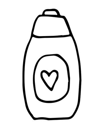 Hand drawn doodle White cosmetic bottle. Black stroke, simple line. Vector illustration isolated on white background. Bottle with liquid soap and dispenser. Jar for lotion, balm or cream. Ilustrace
