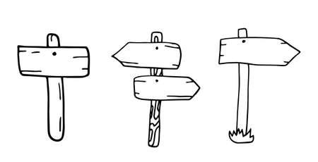 Doodle Holzschilder und Richtungspfeile. Illustration einer Reihe von handgezeichneten skizzierten Design-Holzplatten und Verkehrszeichen. Vektor isoliert auf weißem Hintergrund