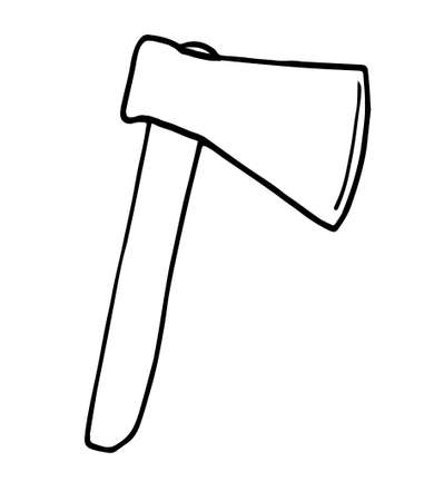 Single marching axe with sharp blade. Vector drawing in Doodle style. Isolated on a white background. concept of travel, camping, equipment