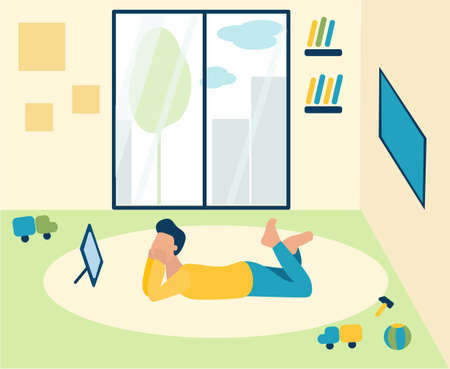 Small boy is lying on the floor in the children's room and watching cartoons on the phone. There are toys and books nearby. the weather is good Outside. gadgets addict, Dependence, digital space. Trendy flat illustrations