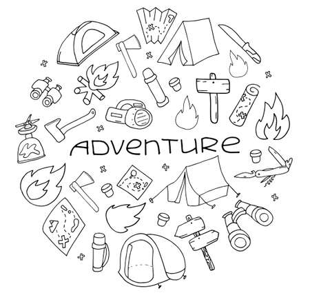 Hand drawn camping and hiking elements, isolated on white background. Lettering Adventure Cute background with lettering full of icons perfect for summer camp flyers and posters. Outlined vector illustration.