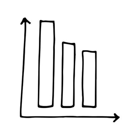 Set of Business hand writing step growth graph. White graph xy lines. Growth and decline, development and decline of income, shares. Scale, zoom in , zoom out . Doodle illustration black stroke isolated on white background