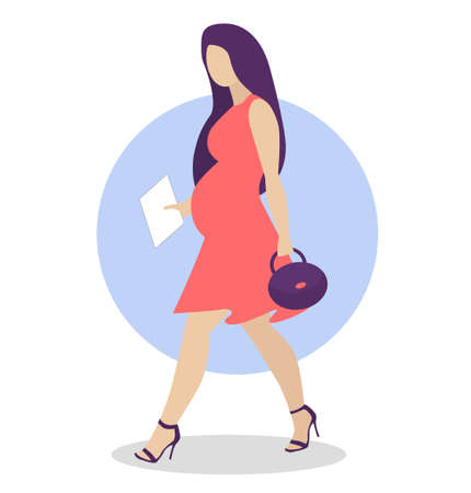 Pregnant woman walking in corall dress. Active well dressed pregnant female character. Happy pregnancy. Beauty for pregnant. Flat cartoon vector illustration