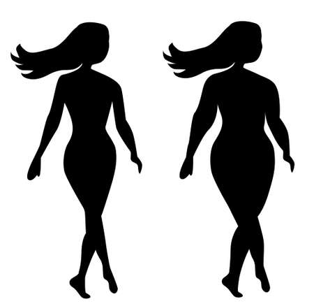 silhouettes of two girls thick and slender slim and fat on a white background. a young beautiful girl is walking down the street. Slim toned body. Fat fat body. Isolated on white