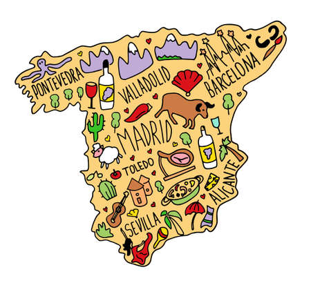 Colored Hand drawn doodle Spain map. Spanish city names lettering and cartoon landmarks, tourist attractions cliparts. travel, trip comic infographic poster, banner concept design