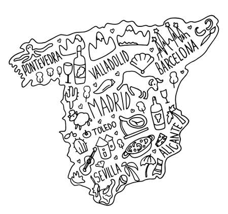 Hand drawn doodle Spain map. Spanish city names lettering and cartoon landmarks, tourist attractions cliparts. travel, trip comic infographic poster, banner concept design