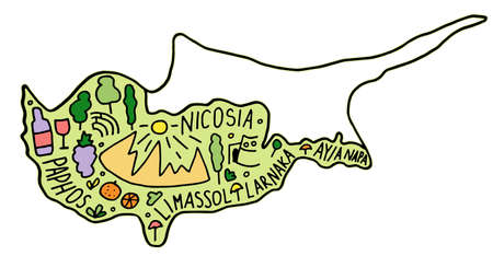 Colored Hand drawn doodle Cyprus map. city names lettering and cartoon landmarks, tourist attractions cliparts. travel, trip comic infographic poster, banner concept design.