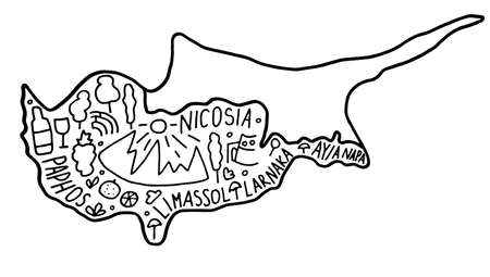 Hand drawn doodle Cyprus map. city names lettering and cartoon landmarks,