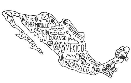 Hand drawn doodle Mexico map. Mexican city names lettering and cartoon landmarks, tourist attractions cliparts. travel, trip comic infographic poster, banner concept design