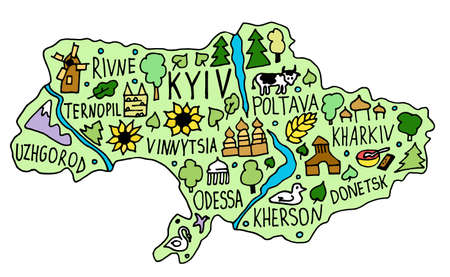Colored Hand drawn doodle Ukraine map. Ukrainian city names lettering and cartoon landmarks, tourist attractions cliparts. travel, trip comic infographic poster, banner concept design. Kyiv, Poltava, Odessa