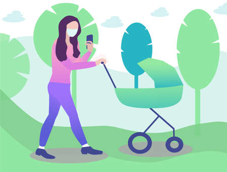 young mother in the mask is walking with baby in pram and looking in a smartphone. Novel coronavirus  イラスト・ベクター素材