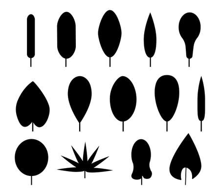 Set of leaves silhouette vector. Black shapes with different forms. Leaf shape. vector illustration isolated on white background.