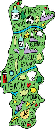 Colored Hand drawn doodle Portugal map. Portugalian city names lettering and cartoon landmarks, tourist attractions cliparts. travel, trip comic infographic poster, banner concept design. Portu, Lisboa, chaves