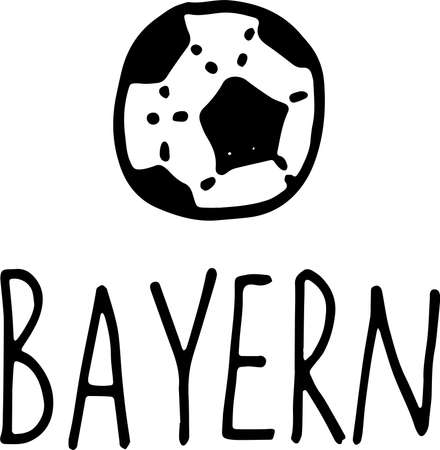 hand drawn doodle football symbol and lettering Bayern. Germany city with its association. vector illustration isolated on white background.  イラスト・ベクター素材