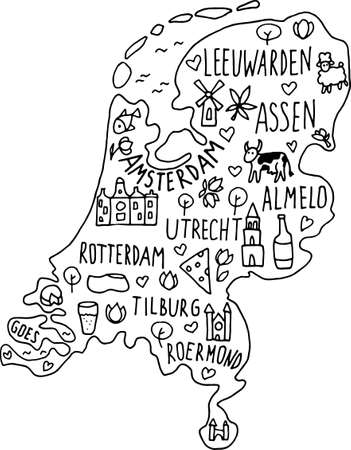 Hand drawn doodle Netherland map. Holland city names lettering and cartoon landmarks, tourist attractions cliparts. travel, trip comic infographic poster, banner concept design. Amsterdam, tulip, utrecht, cow, cheese, ship, castle.