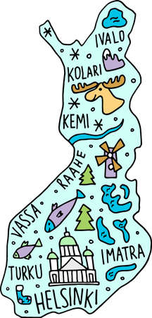colored Hand drawn doodle Finland map. Suomi city names lettering and cartoon landmarks, tourist attractions cliparts. travel, trip comic infographic poster. Helsinki, Kolari, Kotka. Deer, fish. 矢量图像