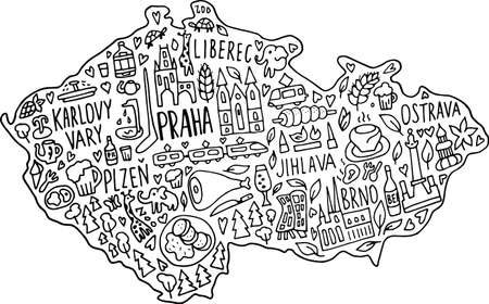 Hand drawn doodle Czech Republic map. Czech city names lettering and cartoon landmarks, tourist attractions cliparts. travel, trip comic infographic poster, banner concept design. Praha, Karlovy Vary, zoo, train