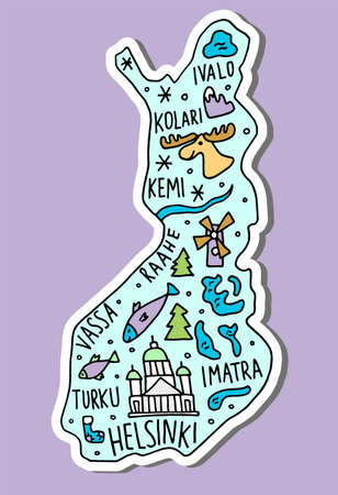 colored Sticker of Hand drawn doodle Finland map. 矢量图像