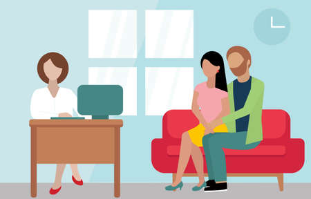 a young couple come to doctor. Wife and husband are sitting on the red sofa in therapist s cabinet. Doctor with brown hair is typing on the computer. Medicine concept. Family doctor, reproductive. vector illustration in Flat style